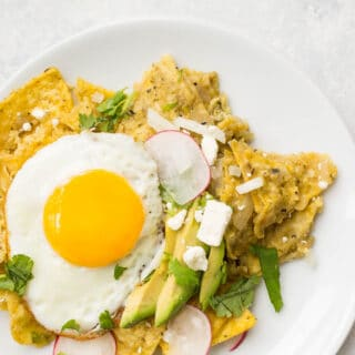 Chilaquiles Verdes with Fried Eggs (gluten-free) | saltedplains.com