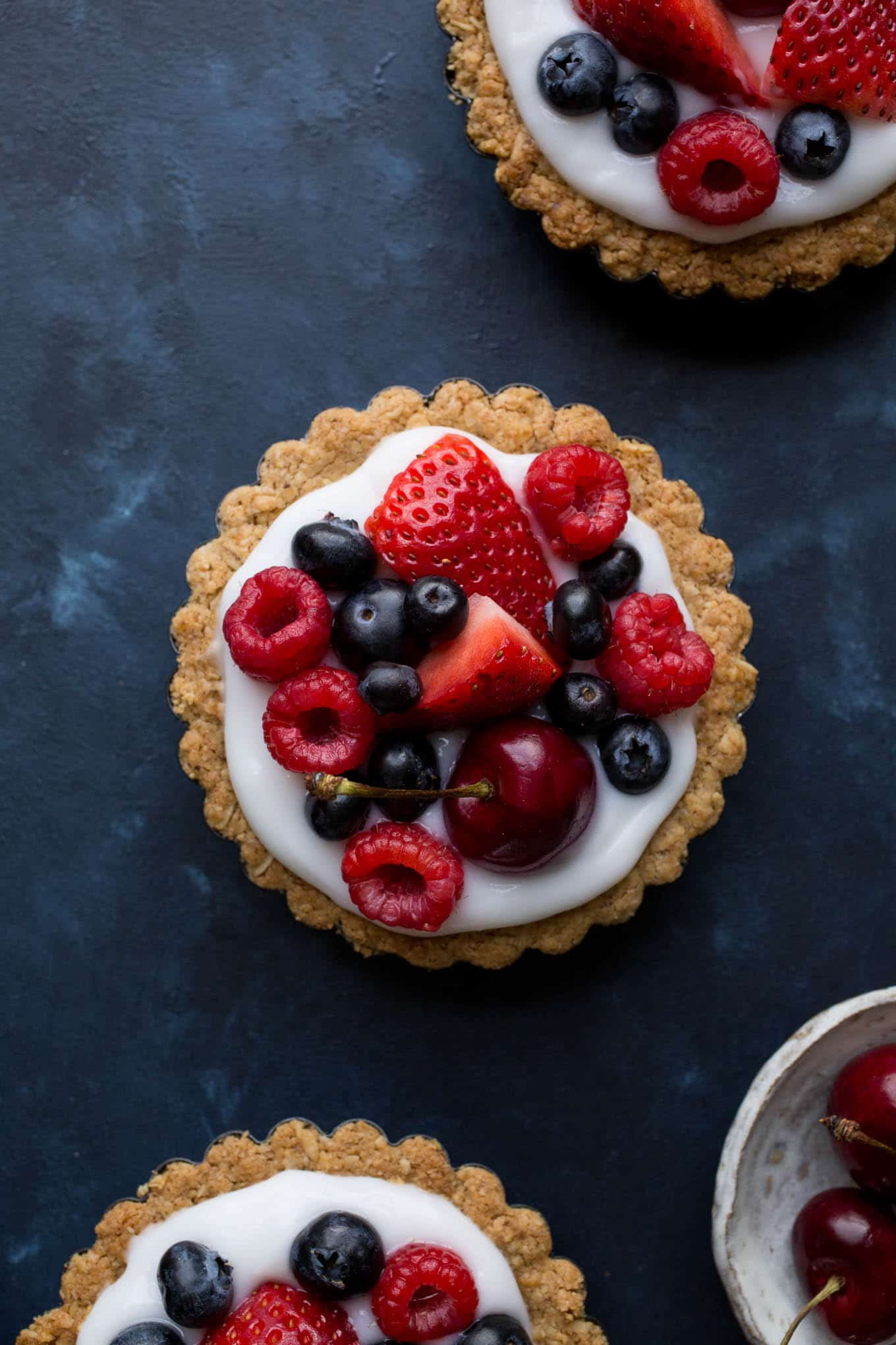 Fruit and Yogurt Granola Tarts from Vegetarian Heartland (gluten-free, vegan, refined sugar-free)