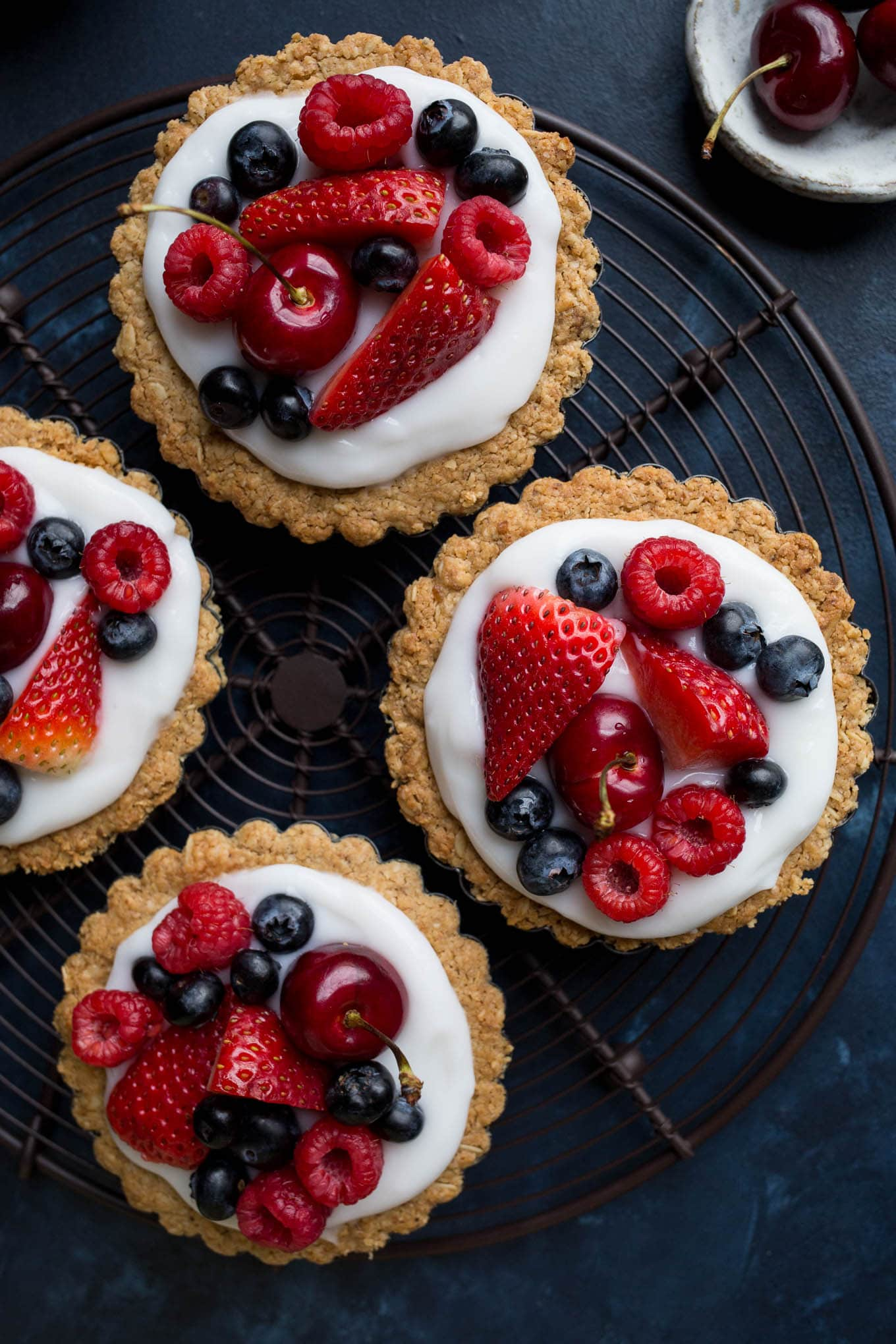 Fruit and Yogurt Granola Tarts (gluten-free, vegan, refined sugar-free)