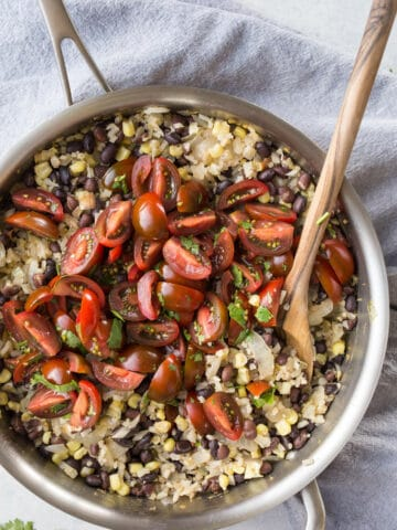 Cauliflower Rice and Beans with Corn is an easy vegetarian and gluten-free meal loaded with veggies.