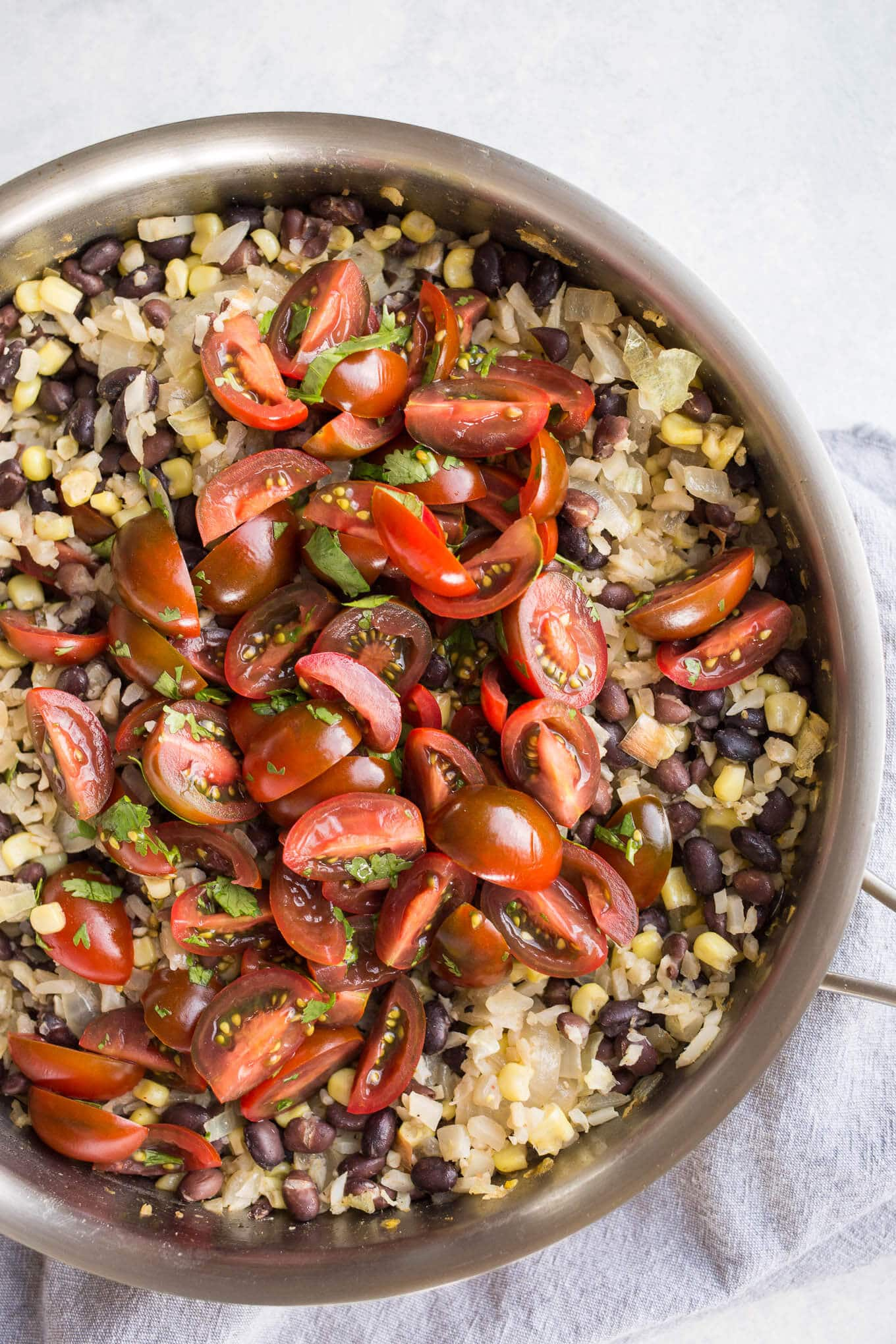 Cauliflower Rice and Black Beans with Corn is an easy vegetarian and gluten-free meal loaded with veggies.