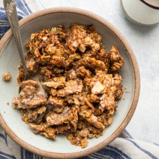 An easy Maple Date Granola recipe that will have you coming back for more. Naturally sweetened with maple syrup and Medjool dates and loaded with gluten-free oats, almonds, hemp seeds, and flaxseeds. Gluten-free and vegan.