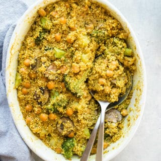 Curried Coconut Quinoa Bake makes for an easy, one-pot weeknight meal. Gluten-free, vegan.