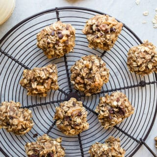 4-Ingredient Banana Bread Cookies with walnuts and cacao nibs are naturally sweetened for a healthy cookie perfect for breakfast, snack, or dessert! Gluten-free, vegan.