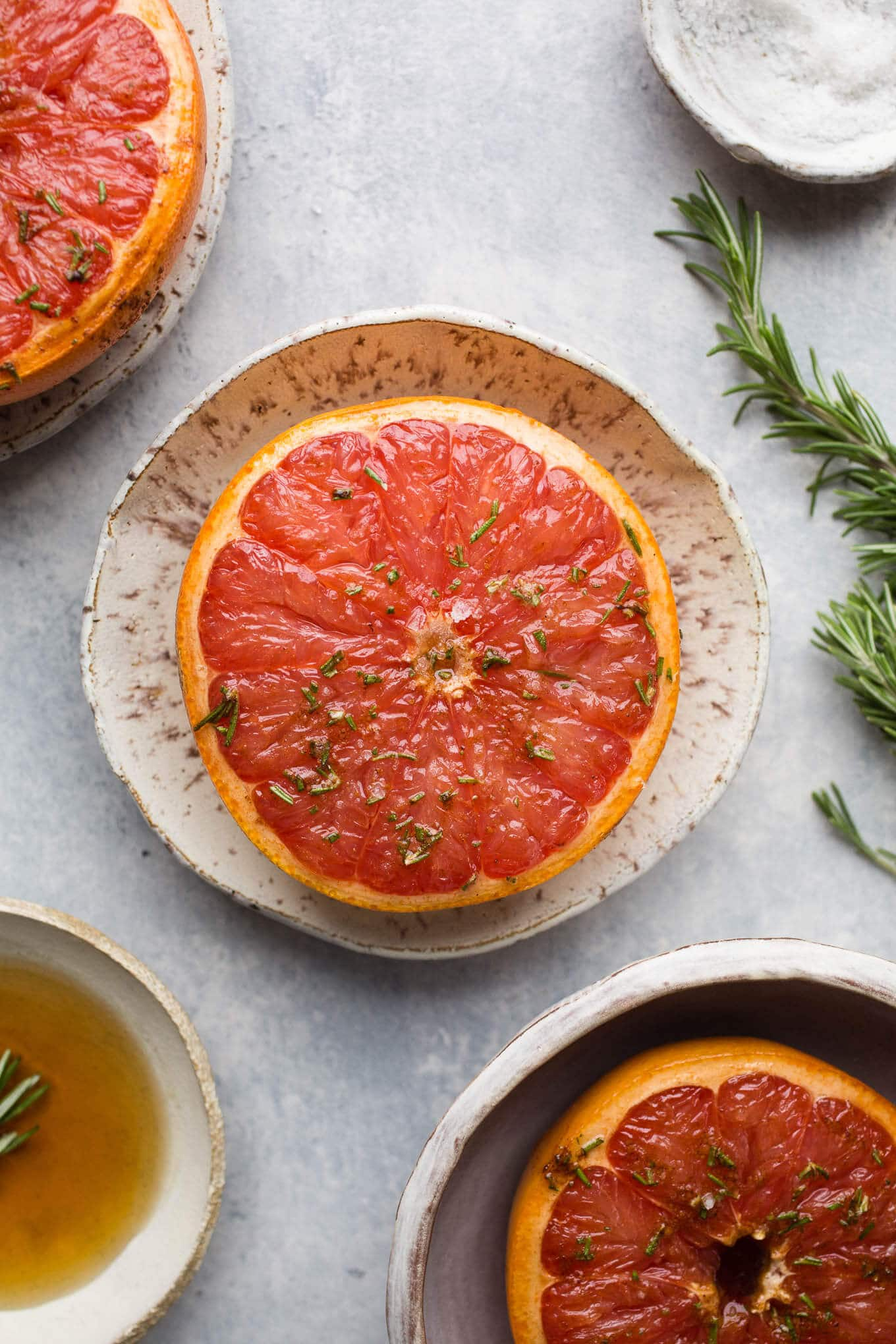 Broiled grapefruit with maple syrup and rosemary