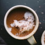 This Superfood Maca Hot Chocolate combines cacao powder, maca powder, cinnamon, cayenne, sea salt, and a touch of maple syrup to make for a rich and healthy hot drink. Gluten-free, vegan, refined sugar-free.