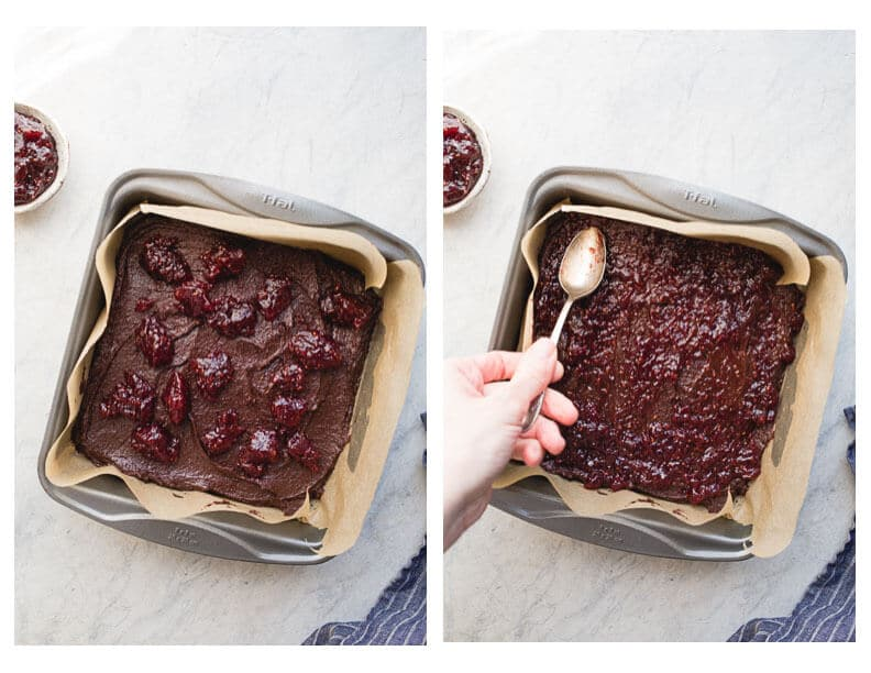 A layer of brownie, a layer of raspberry jam, and a layer of chocolate ganache make up these delicious Raspberry Truffle Brownies. Gluten-Free and dairy-free.