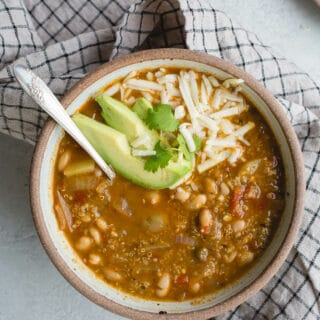Salsa Verde Quinoa Chili is a delicious one-pot meal loaded with plant-based protein and vegetables. Gluten-free.