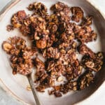 Homemade Almond Joy Granola made with gluten-free oats, unsweetened shredded coconut, raw almonds, and chocolate. A gluten-free, vegan, and refined sugar-free recipe!