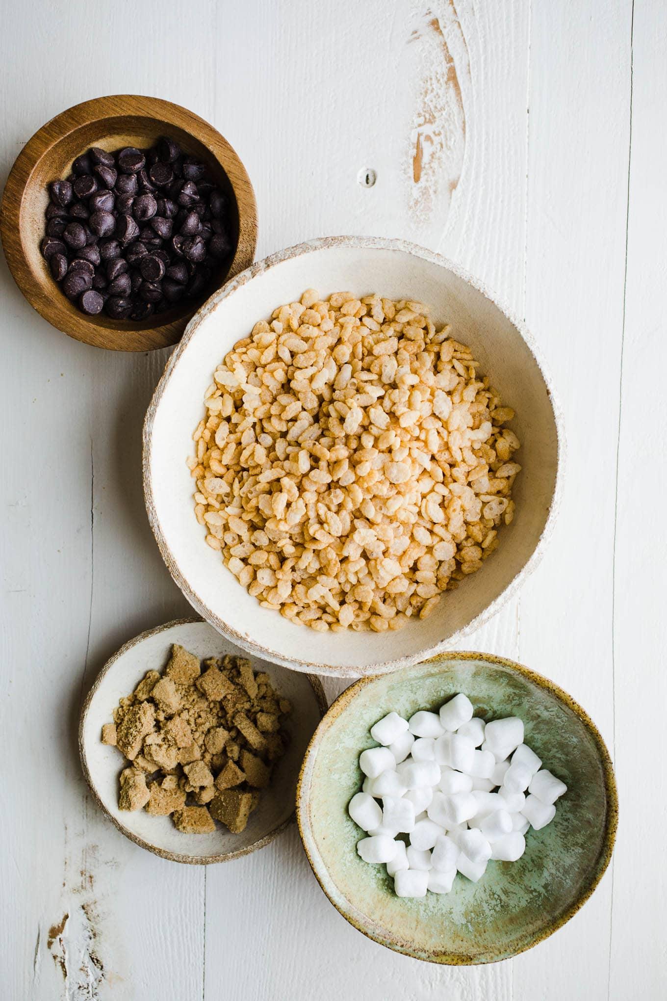 S'mores Rice Krispies Treats ingredients in bowls
