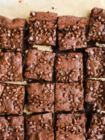 Vegan Tahini Brownies made with rich cocoa powder, tahini, maple syrup, chocolate chips, and sea salt. Gluten-free.