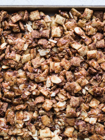 Coconut Chocolate Chex Party Mix is an easy dairy-free sweet chex mix made with coconut butter and maple syrup. Gluten-free, vegan.