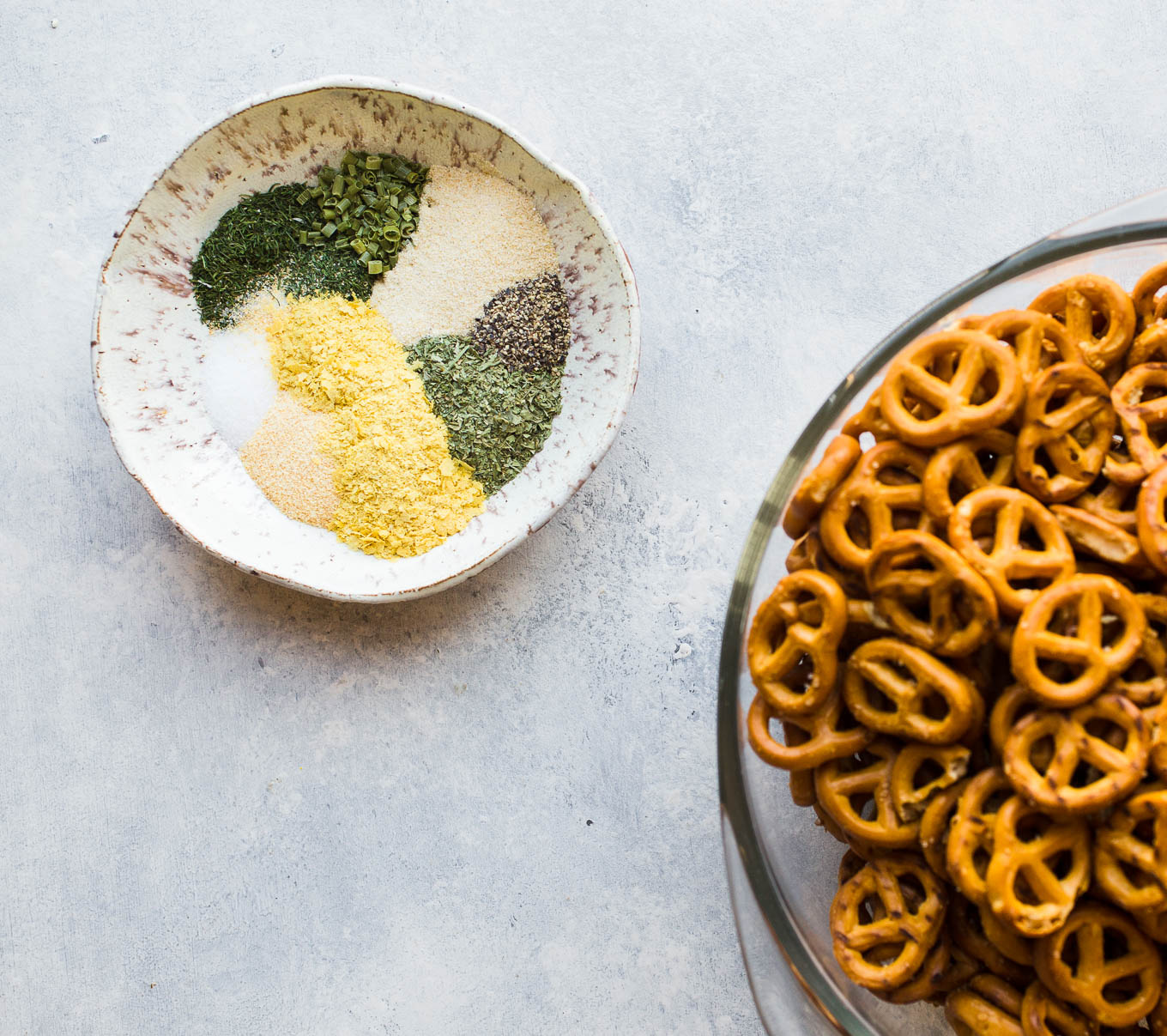 Gluten-Free Seasoned Pretzels made with olive oil, herbs, and nutritional yeast for an easy snack recipe. Vegan.