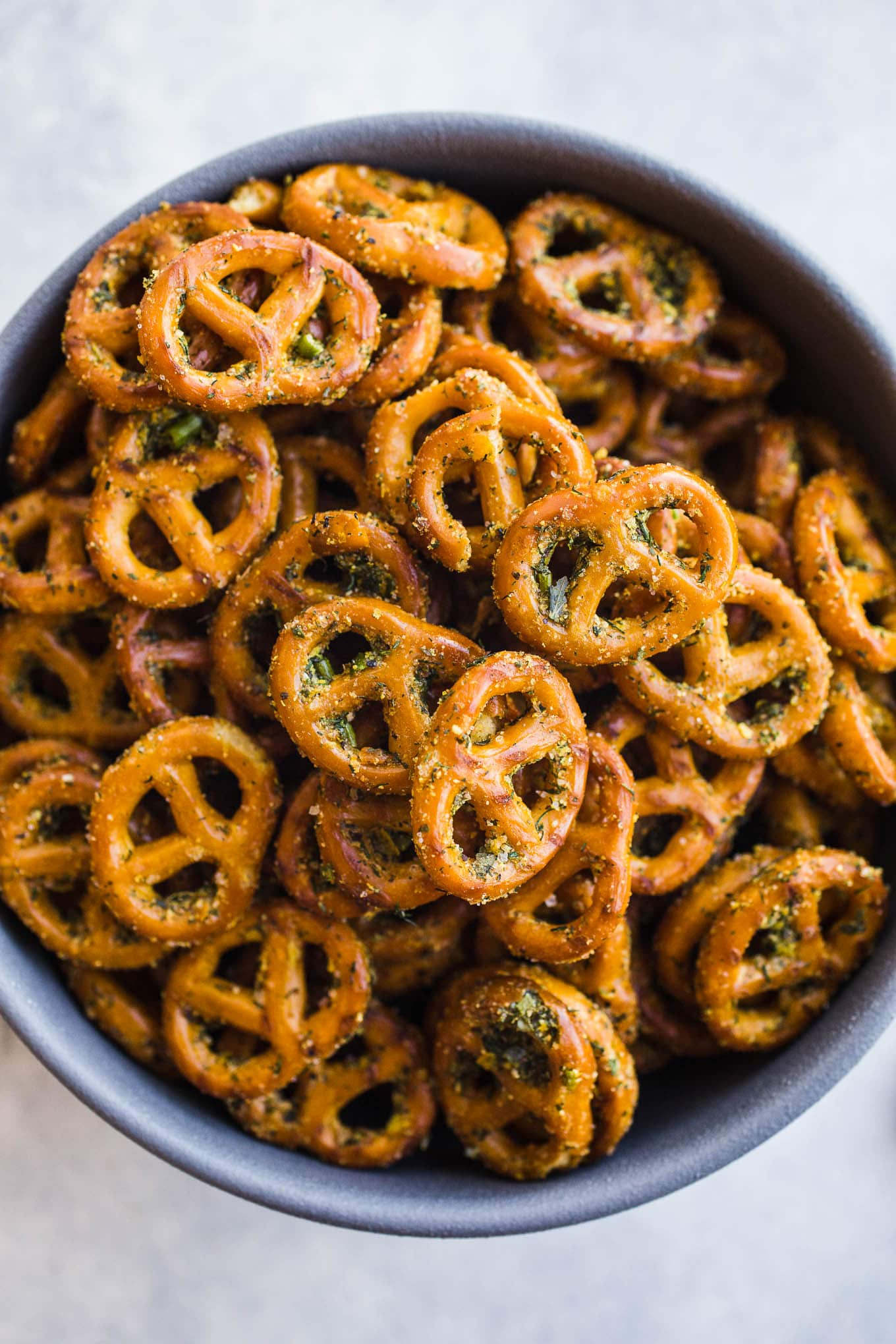 Gluten-Free Seasoned Pretzels made with olive oil, herbs, and nutritional yeast for an easy homemade snack recipe. Vegan.