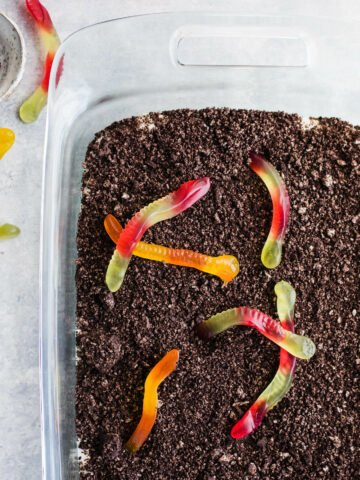 dirt cake with gummy worms
