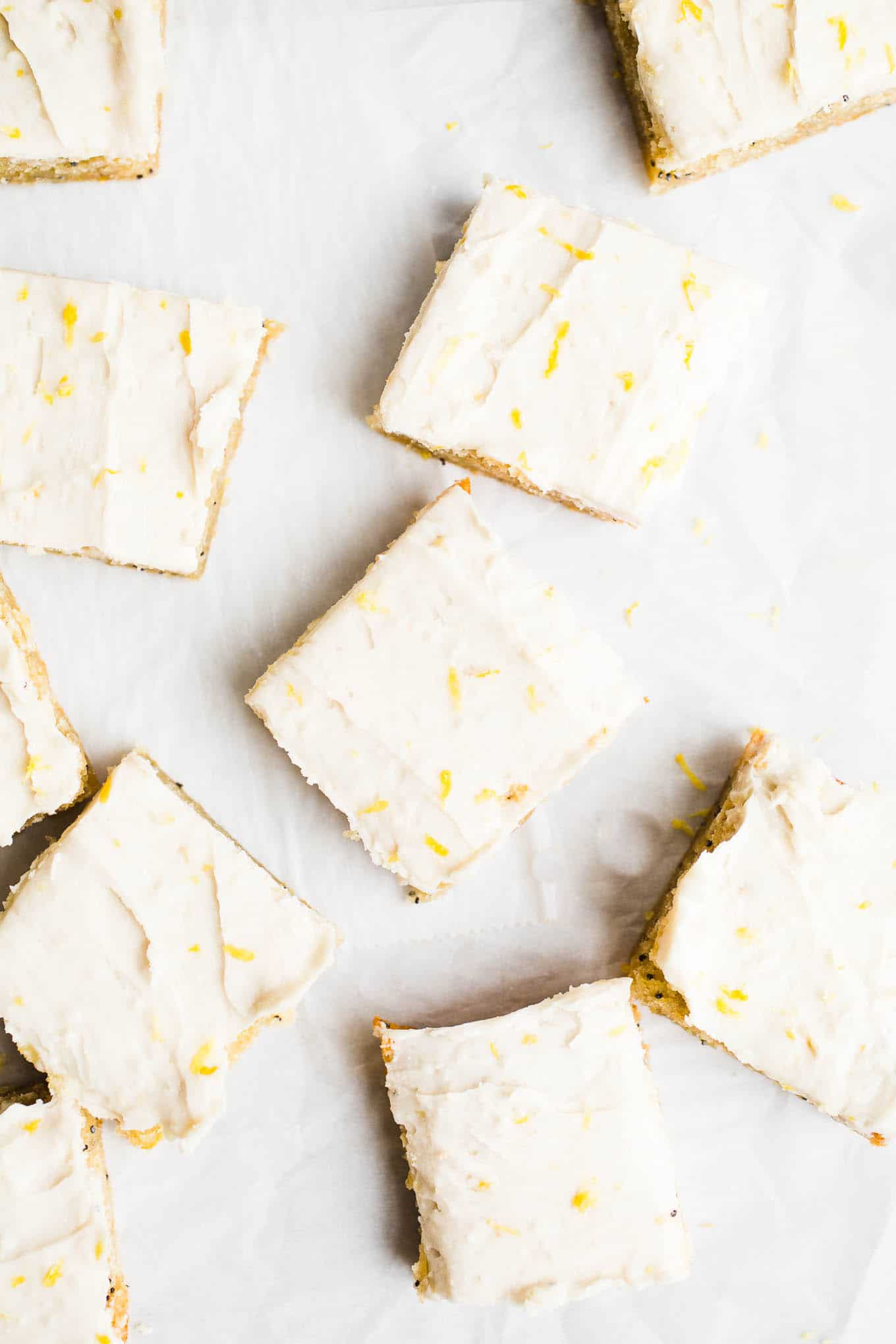 Vegan Lemon Poppyseed Snack Cake with Lemon Buttercream Frosting