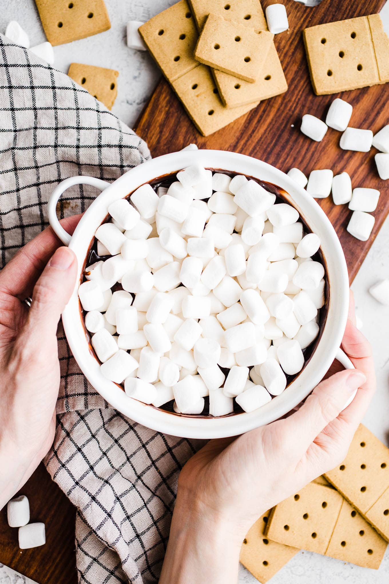Chocolate dip topped with marshmallows