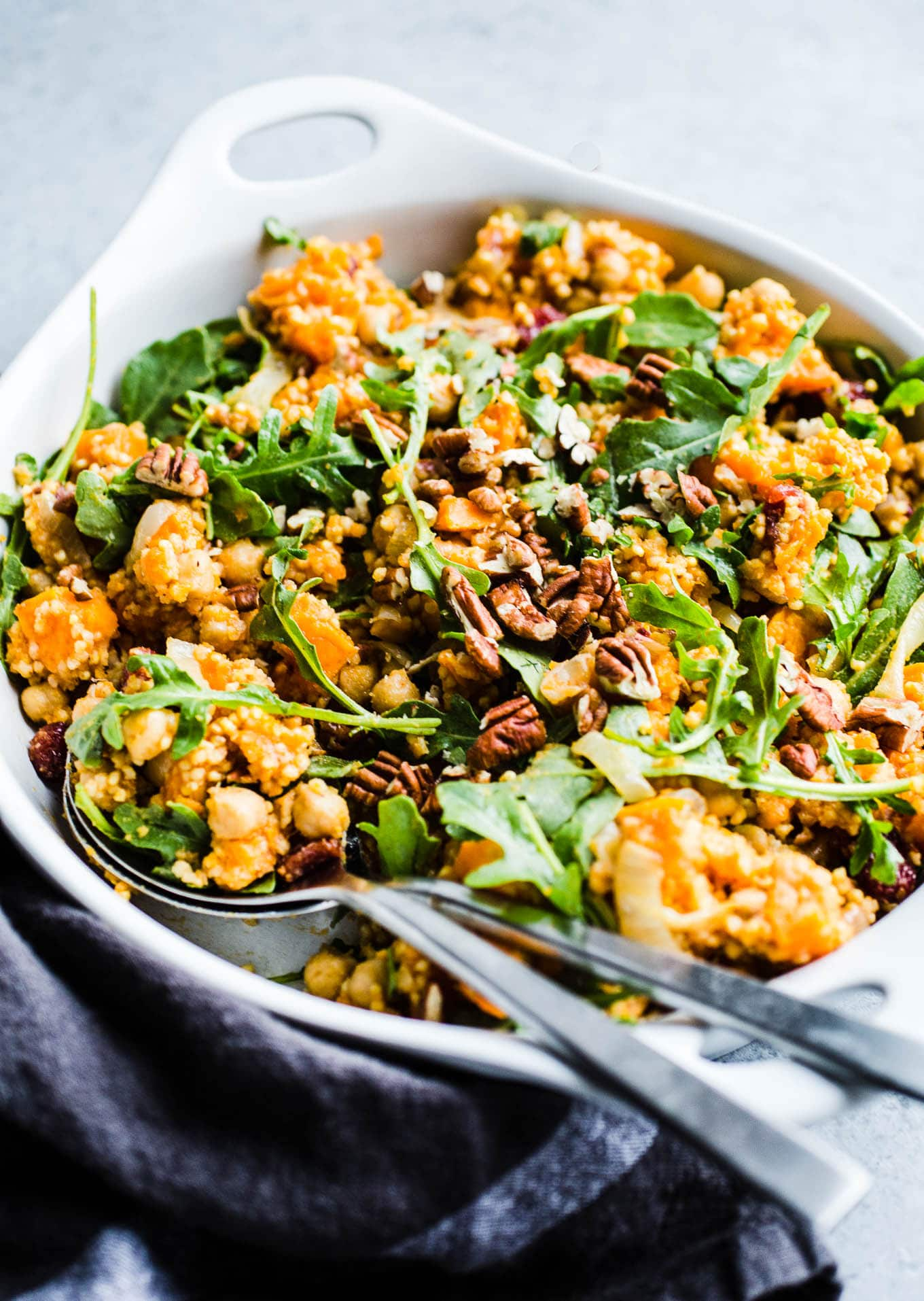 Roasted Sweet Potato Salad with pecans and arugula
