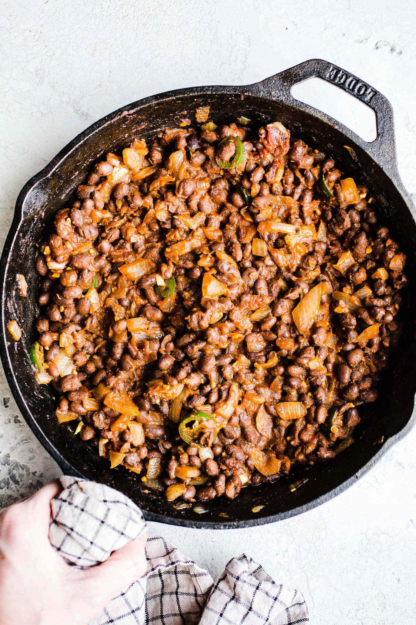 Cooked black beans and onions