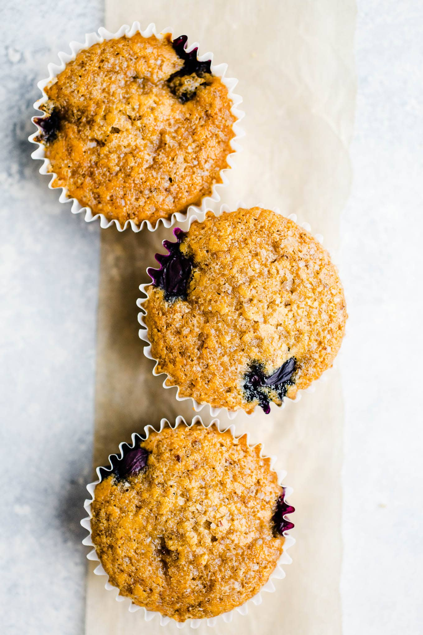 Blueberry muffins topped with cane sugar