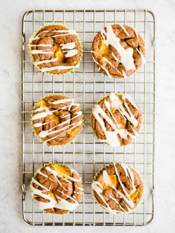 Peach muffins with icing