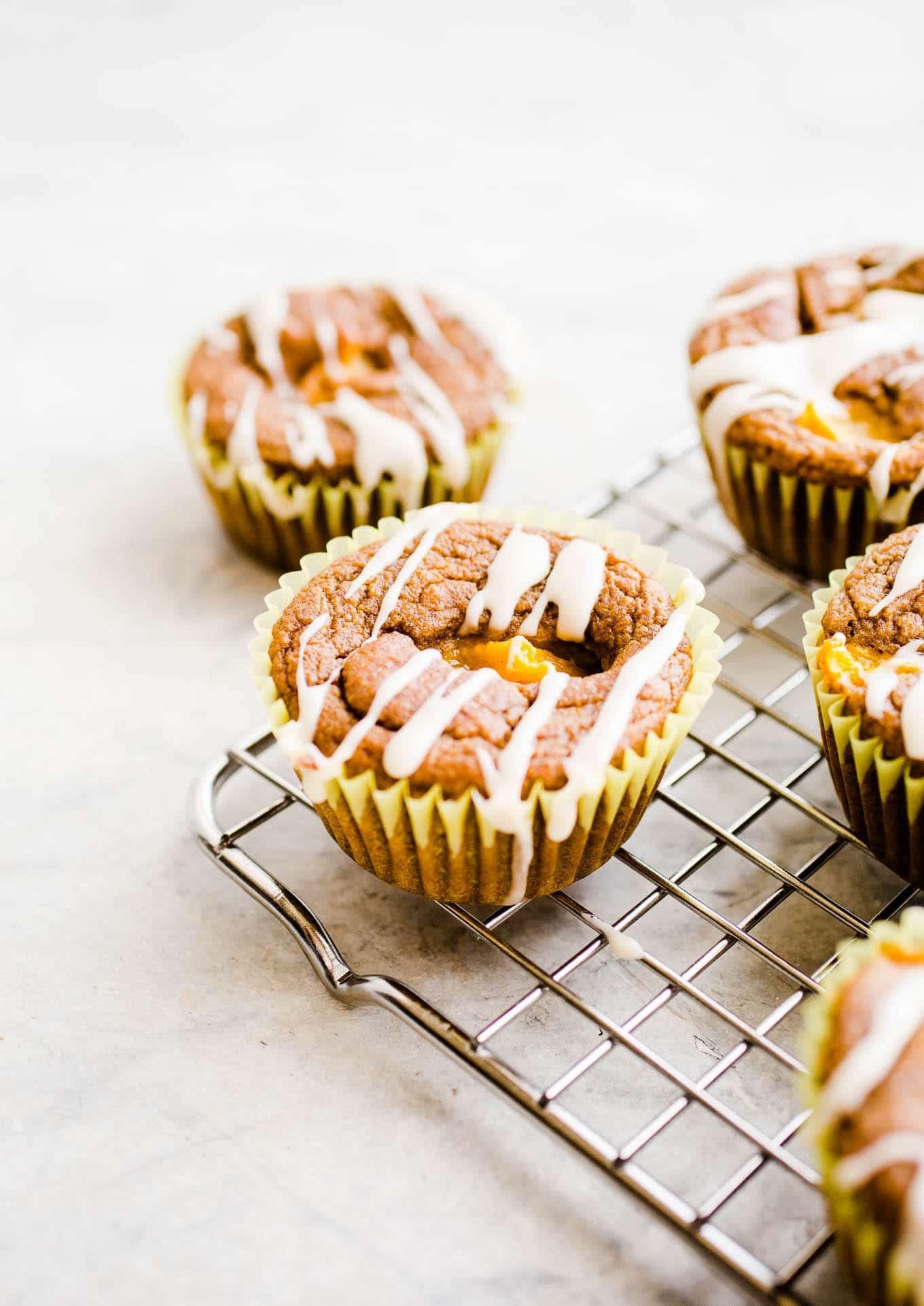 iced peach muffins