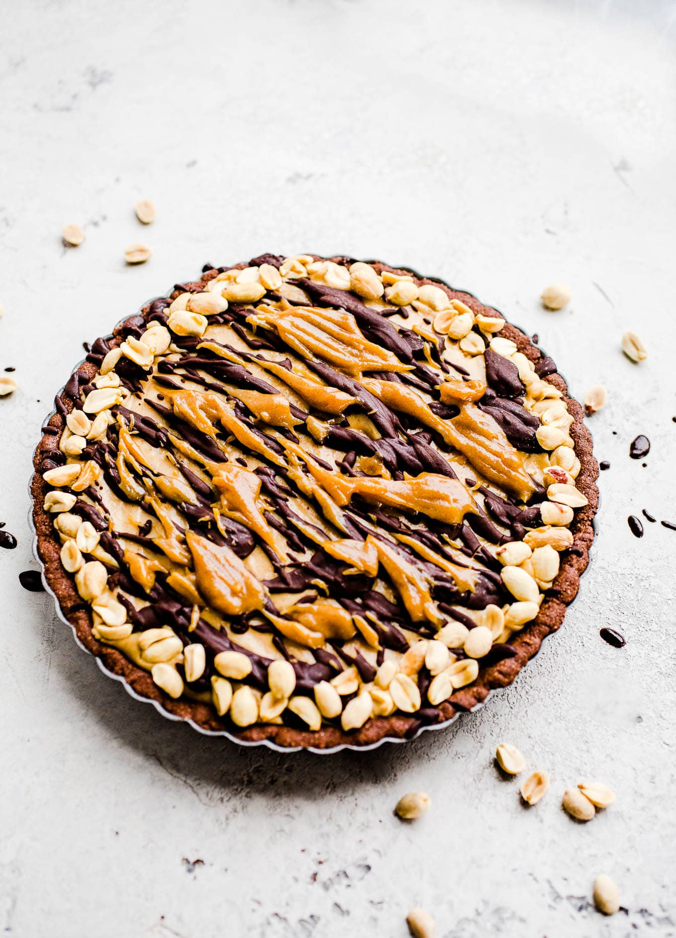 frozen pie with caramel and chocolate