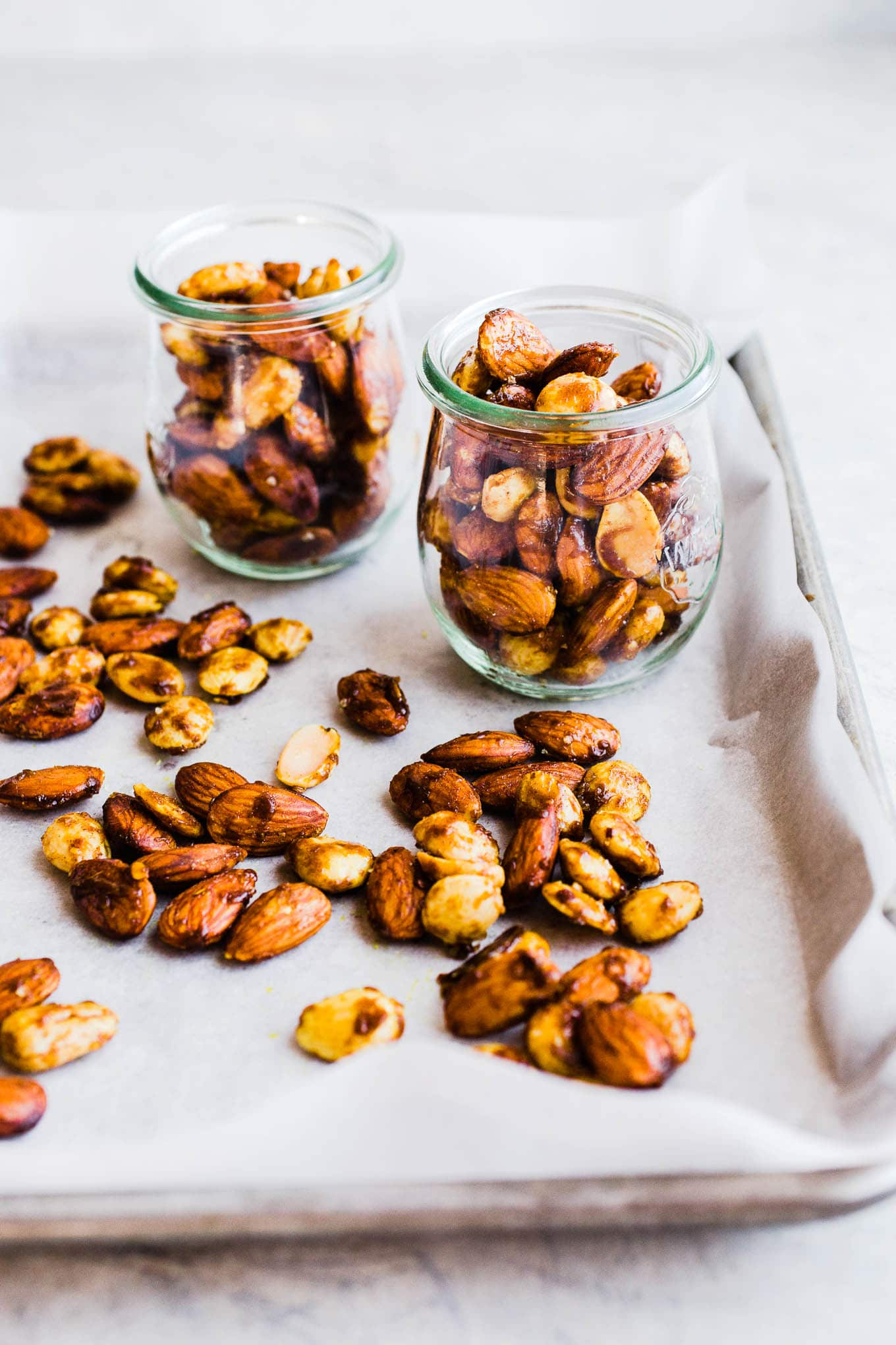 curried roasted almonds in jars