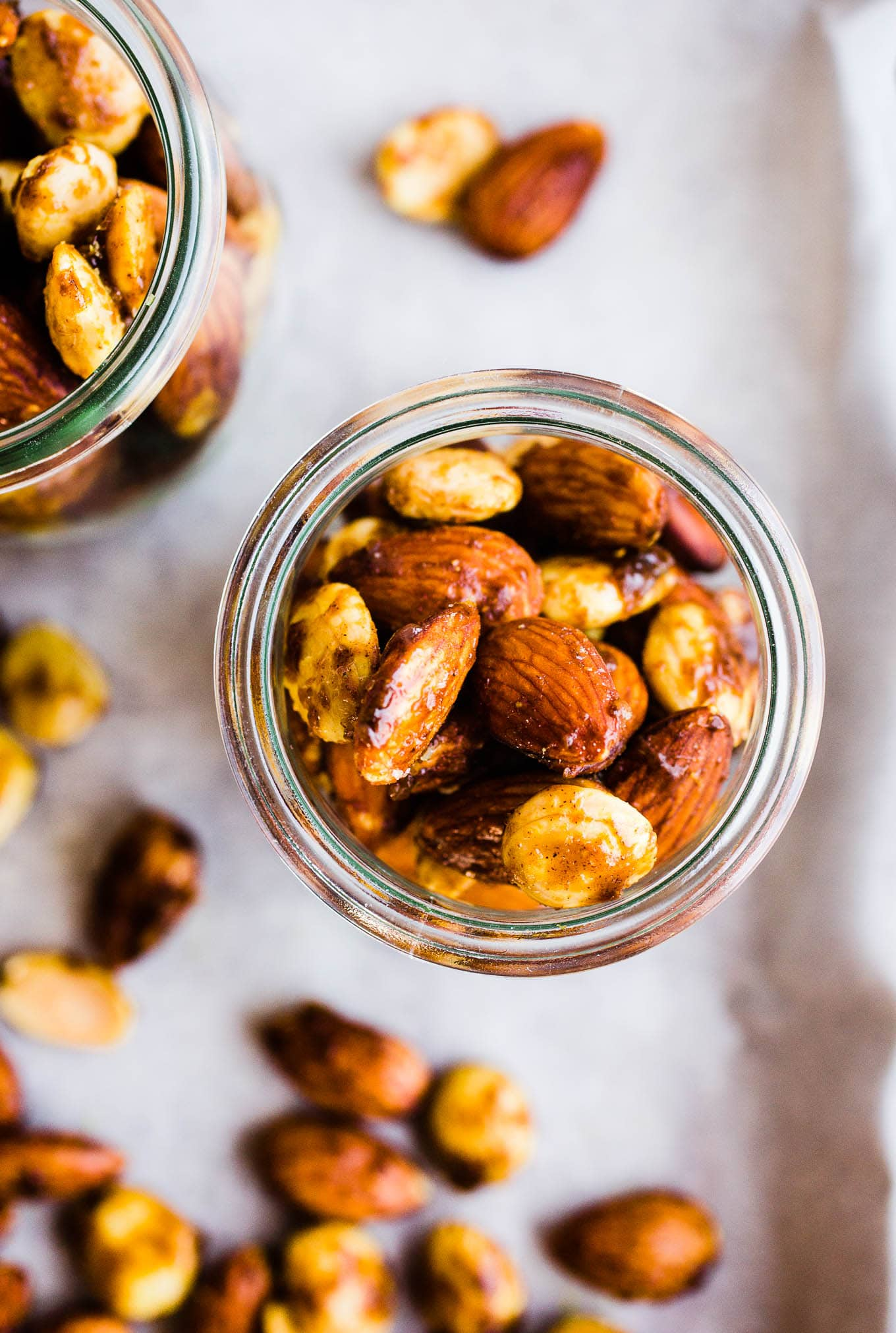 curried almonds in jars