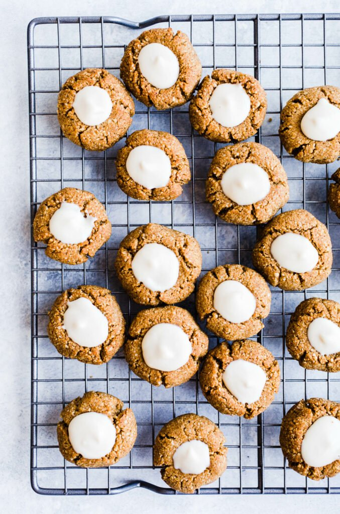 gingerbread thumbprints on cooling rack