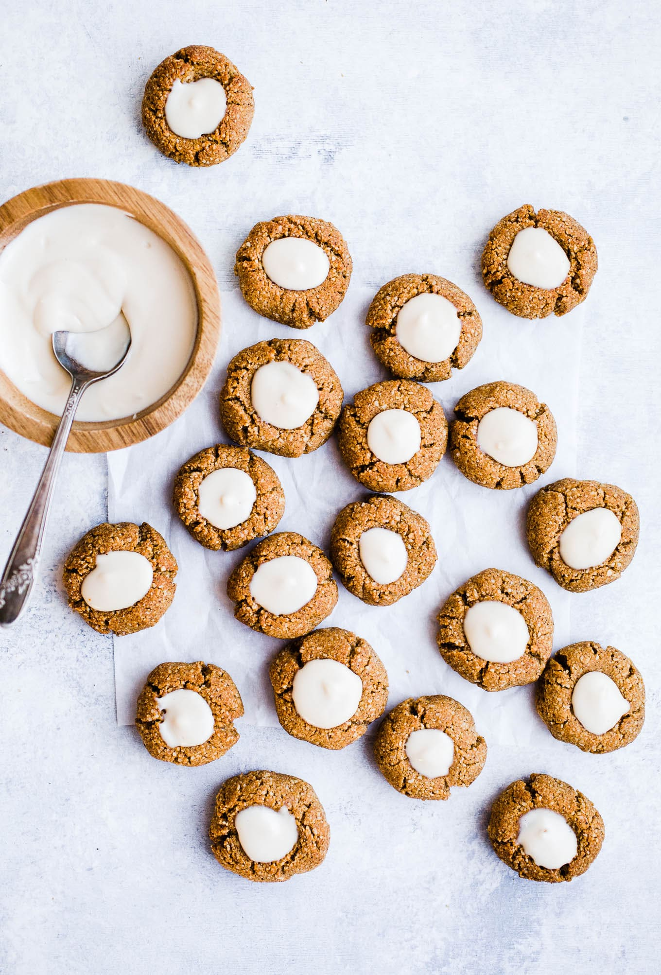 Thumbprint cookies with cream cheese filling