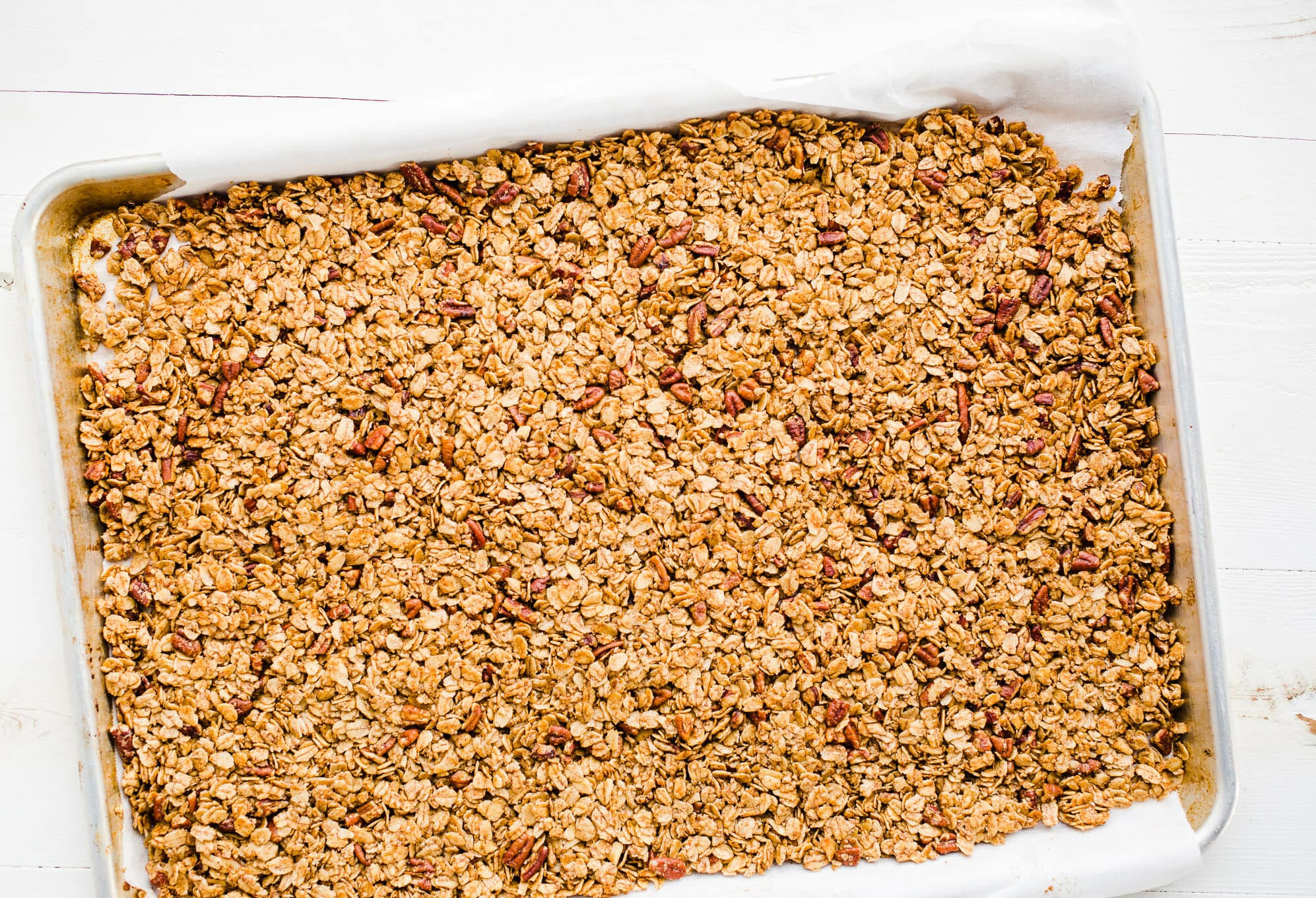 baked granola in pan