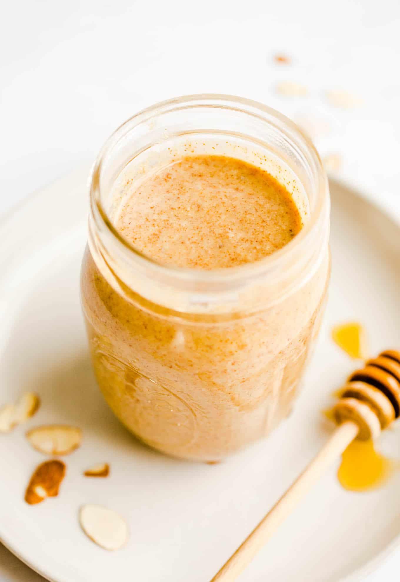 roasted almond butter in jar