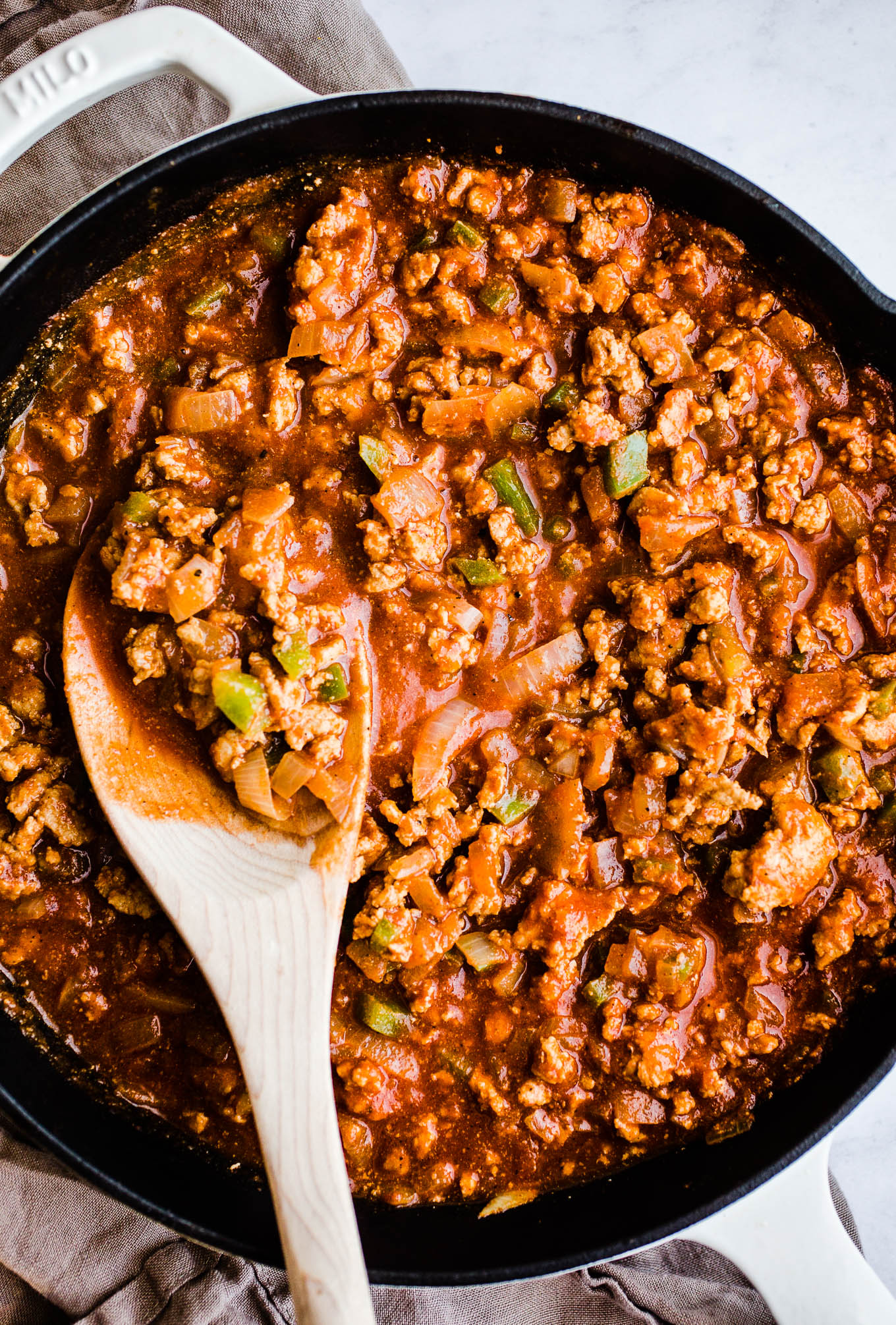 Sloppy joe mixture in a skillet
