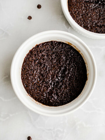 chocolate cake in white ramekin
