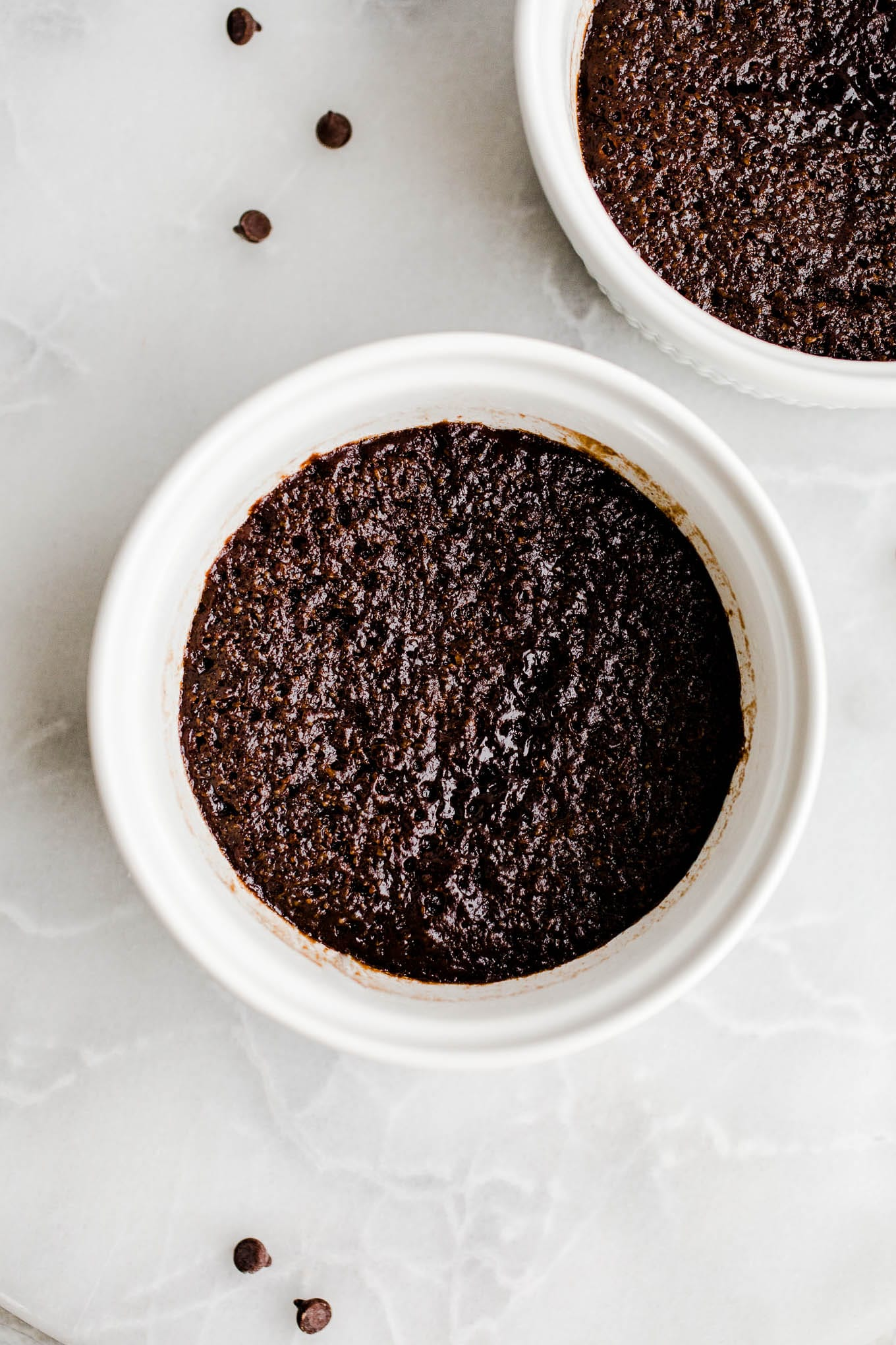almond flour chocolate mug cake in white ramekin