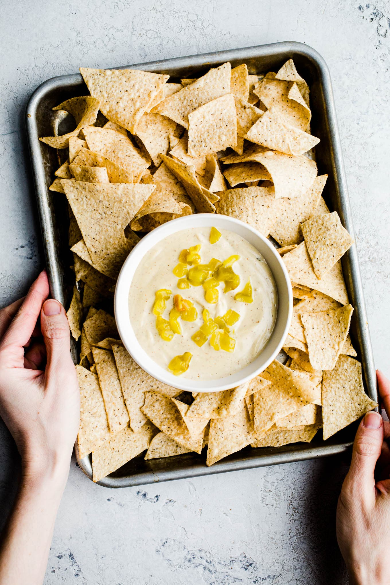 Vegan queso blanco with hatch chilis in bowl