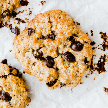 air fryer oatmeal chocolate chip cookies on parchment paper.