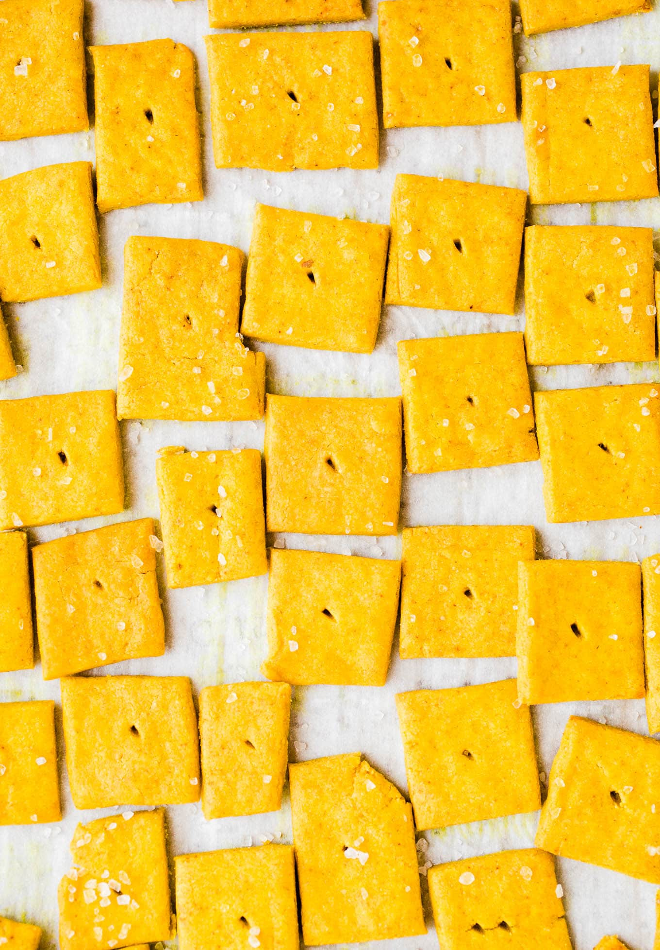 cheese crackers with sea salt on top
