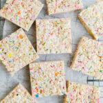 batch of cake batter rice krispie treats