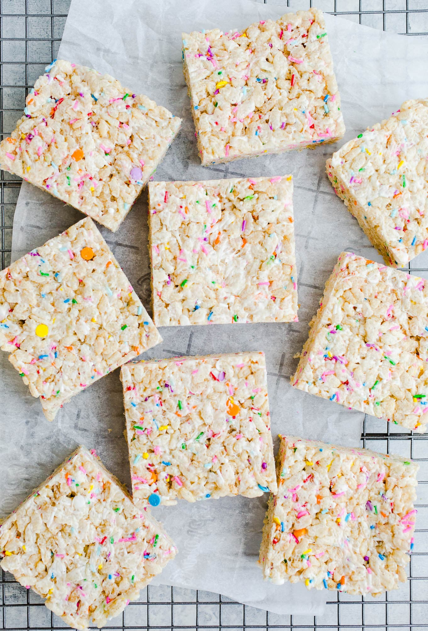 rice krispie treats with sprinkles on wire rack