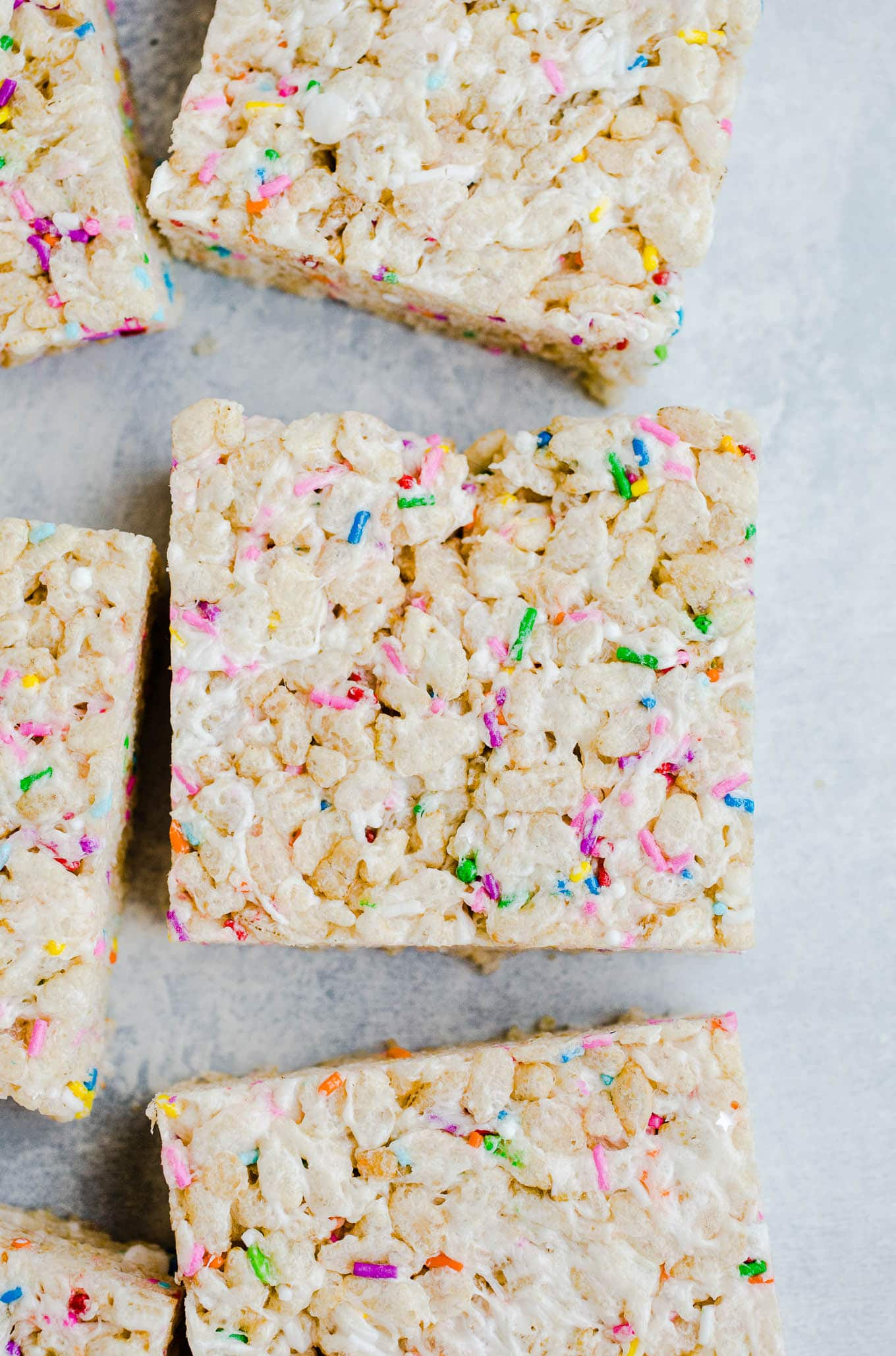 cake batter rice krispie treat squares