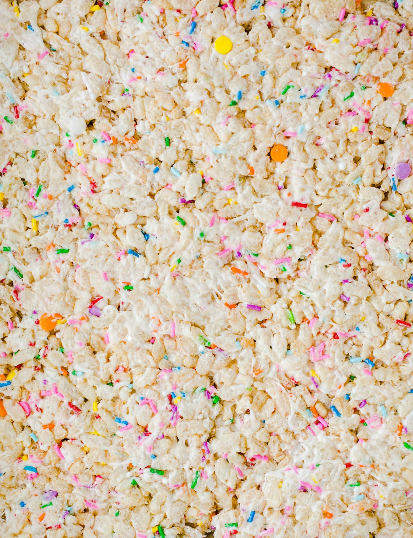 closeup of rice krispie treat with sprinkles