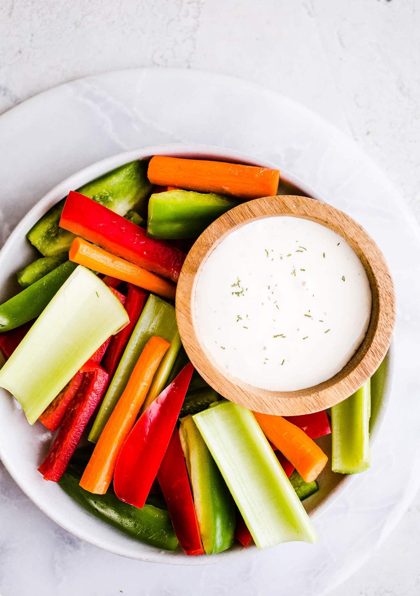 vegan ranch dressing with vegetables