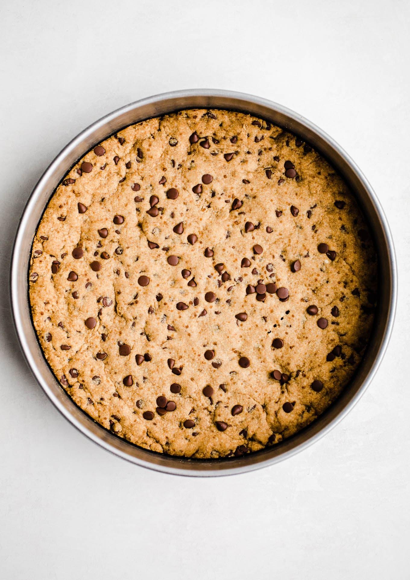 gluten-free cookie cake in pan