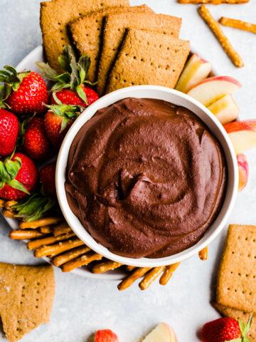 chocolate hummus with graham crackers and fruit