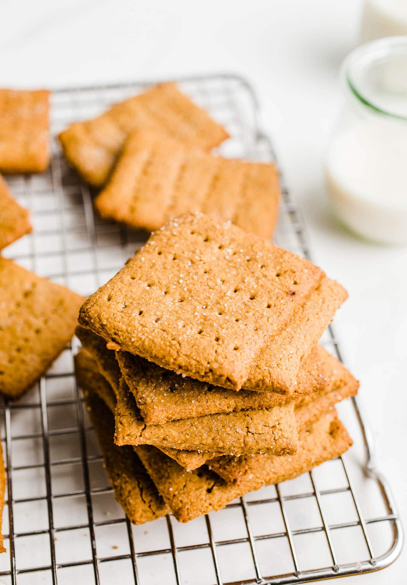 stack of graham crackers on wire rack