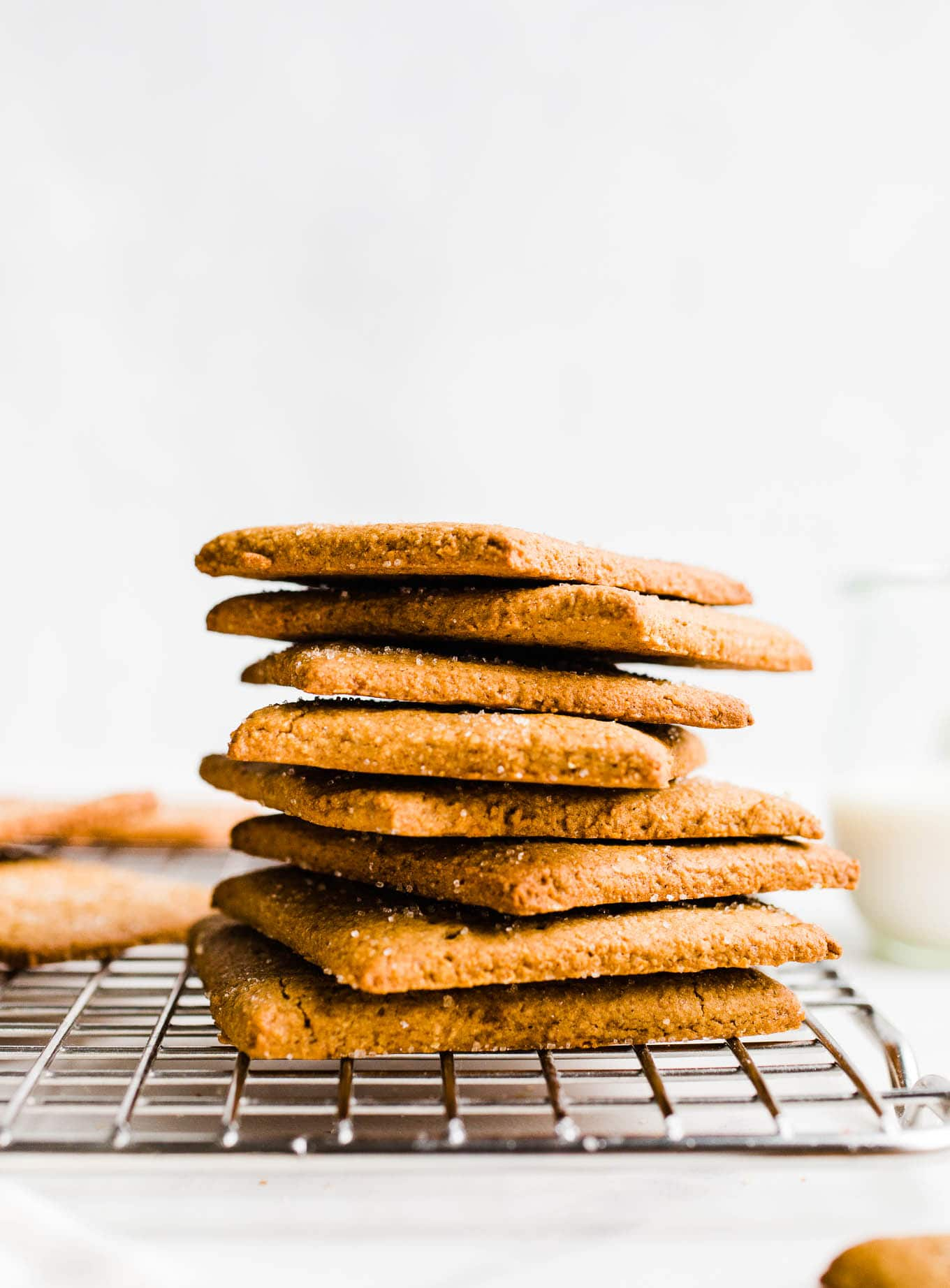 gluten-free graham crackers stacked on wire rack