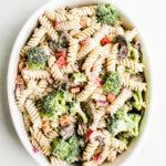 gluten-free ranch pasta salad in white bowl
