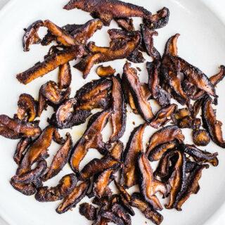 mushroom bacon on plate